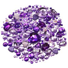 Mixed Pack of PURPLE Gems and Diamante Embellishments